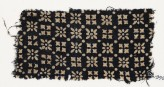 Textile fragment with rosettes, squares, and dots