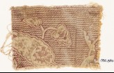 Textile fragment with leaves and stripes