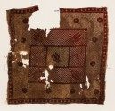 Textile fragment with flowers and cross-hatching
