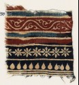 Textile fragment with bands of vine, rosettes, and tear-drops (EA1990.930)