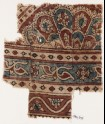 Textile fragment with elaborate semi-rosette and petals