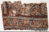 Textile fragment with leaves and linked flowers