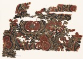 Textile fragment with stylized trees and bunches of fruit