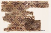 Textile fragment with linked circles and diamond-shapes