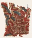Textile fragment with chinoiserie pavilion, branches, and berries