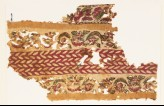 Textile fragment with bands of linked flowers and leaves