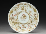 Saucer with quails and flowers