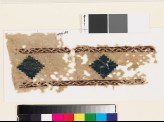 Textile fragment with stepped diamond-shapes and lattice (EA1993.159)