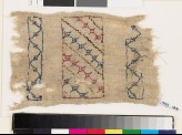 Textile fragment with steps, florets, and chevrons