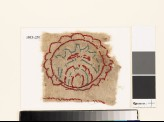 Textile fragment with multi-petalled circle and leaf (EA1993.231)
