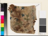 Textile fragment with plant, flowers, and leaves, possibly from a pocket (EA1993.276)