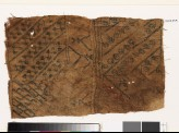 Sampler with diagonal lines, hooks, and stylized flower-heads (EA1993.354)