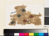 Textile fragment with heart-shaped medallions, triangles, and hooks (EA1993.79)