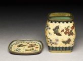 Tobacco jar and stand with butterflies and flowers