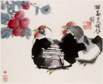 Two hens and flowers