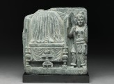 Relief fragment depicting a female warrior guarding the Buddha's relics (EA1997.14)