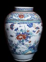 Misshapen baluster jar with flowers