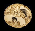 Ryūsa-style netsuke depicting the rokkasen, or six immortal poets