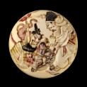 Manjū netsuke depicting Minamoto no Yorimasa and Ii no Hayata slaying the nue, a mythical creature (EA2001.114)