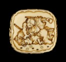 Ryūsa-style netsuke depicting a retainer of Minamoto no Yorimitsu slaying a goblin