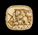 Ryūsa-style netsuke depicting a retainer of Minamoto no Yorimitsu slaying a goblin
