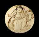 Manjū netsuke depicting a boy throwing beans at the Setsubun festival