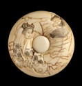 Manjū netsuke depicting Watanabe no Tsuna fighting the Ibaraki Demon