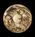 Manjū netsuke depicting Minamoto no Yorimitsu killing the demon Shuten dōji