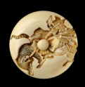 Manjū netsuke depicting Katō Kiyomasa slaying a tiger