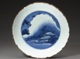 Dish with a night landscape