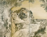 Six-fold screen depicting a roaring tiger
