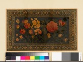 Board from a book binding, with flowers and a butterfly