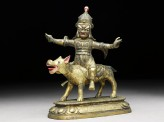 Figure of Las Mkhan damar po, acolyte of Beg-tse god of war, on a wolf