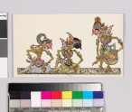 Card with characters from Wayang theatre