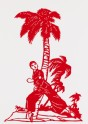 Heroine from the ballet Red Detachment of Women in front of palm tree