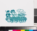 Two children watering white cabbages