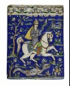 Tile depicting a rider holding a falcon