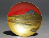 Sake cup depicting a lake in front of Mount Fuji