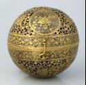 Spherical incense burner with floral decoration