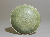 Greenware bowl with ducks amid waves (EAX.1265)
