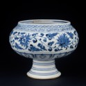 Blue-and-white stem bowl with lotus flowers and mandarin ducks