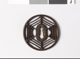 Round tsuba with hexagonal cobweb