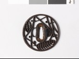Round tsuba with oak leaves and pine needles