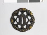 Lobed tsuba with flowers and fans