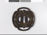 Mokkō-shaped tsuba with star and leaf forms