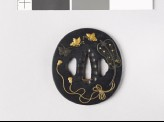 Tsuba with a Chinese fan and butterflies