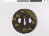 Tsuba with aoi, or hollyhock leaves, floating on water