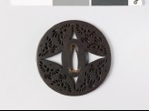 Round tsuba with flying phoenixes