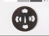 Tsuba with key pattern and seaweed-like sprays (EAX.10278)