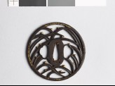 Round tsuba with grass and dewdrops